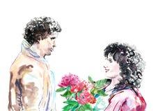 Pares románticos del amor de la acuarela, ejemplo de día de San Valentín Hombres jovenes y mujeres ilustración del vector