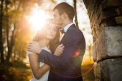 Pares románticos del recién casado del valentyne del cuento de hadas fotografía de archivo