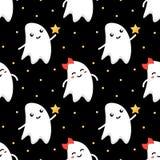 Pares románticos divertidos lindos del fondo inconsútil del modelo de Halloween de los fantasmas Fotos de archivo libres de regalías