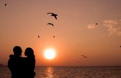 Pares románticos en la puesta del sol Imágenes de archivo libres de regalías