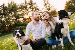Pares románticos en perros que caminan del amor en naturaleza y la sonrisa Foto de archivo