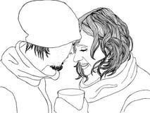 Pares románticos en ropa del invierno Imagenes de archivo