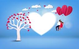 Pares románticos en un oscilación HOL del verano de las vacaciones de la luna de miel del amante stock de ilustración
