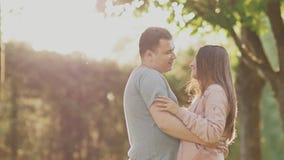 Pares románticos en un parque verde del verano Están cercanos el uno al otro Miran uno a en los rayos de la luz del sol metrajes