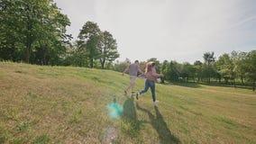 Pares románticos en un parque verde del verano Se toman por la mano y el funcionamiento en los rayos de la luz del sol feliz junt almacen de metraje de vídeo