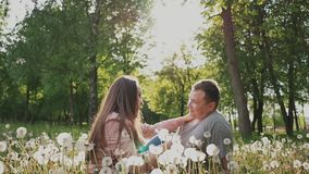 Pares románticos en un prado verde entre muchos dientes de león en los rayos de la luz del sol Miran en uno a ojos del ` s almacen de video