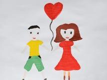 Pares románticos Muchacho y muchacha en el amor que abraza, abrazando y besándose Dibujo del ` s de los niños Mano drenada fotografía de archivo