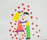 Pares románticos Muchacho y muchacha en el amor que abraza, abrazando y besándose Dibujo del ` s de los niños Mano drenada imágenes de archivo libres de regalías
