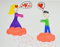 Pares románticos Muchacho y muchacha en el amor que abraza, abrazando y besándose Dibujo del ` s de los niños Mano drenada imagen de archivo
