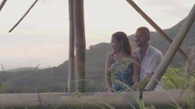 Pares románticos que disfrutan de viaje de la luna de miel del rato del paisaje de la montaña Hombre feliz y mujer que abrazan en almacen de video