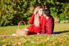 Pares románticos que tienen comida campestre en la hierba en un día de la caída fotografía de archivo libre de regalías