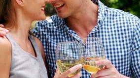 Pares románticos sonrientes que tuestan las copas de vino metrajes