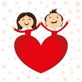Pares románticos y corazón rojo ilustración del vector