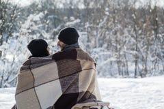 Pares românticos da parte traseira no inverno fora Imagem de Stock Royalty Free