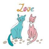 Pares românticos dos gatos Imagem de Stock Royalty Free