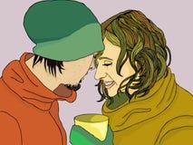 Pares românticos na roupa do inverno Imagem de Stock