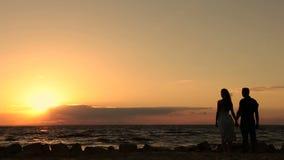 Pares românticos no amor que aprecia o por do sol na praia video estoque