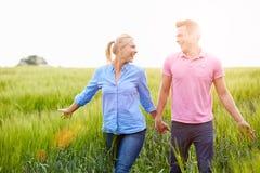 Pares românticos que andam no campo que guarda as mãos foto de stock