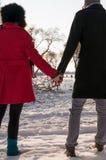 Pares românticos que estão na neve Imagem de Stock Royalty Free
