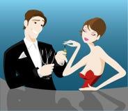 Pares românticos que flertam ilustração do vetor