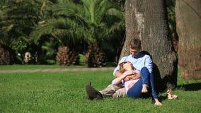 Pares românticos que sentam-se sob uma palmeira Uma menina no regaço de um indivíduo Um par loving que descansa em um parque na g vídeos de arquivo