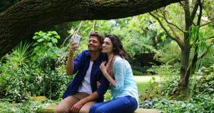 Pares românticos que tomam o selfie do telefone celular video estoque
