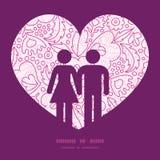 Pares rosados del lineart de las flores del vector en amor Foto de archivo