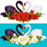 Pares, rosas y corazones del cisne ilustración del vector
