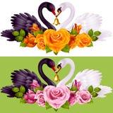 Pares, rosas y corazones del cisne stock de ilustración