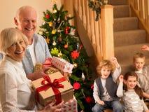 Pares sênior com os netos no Natal foto de stock royalty free