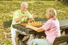 Pares sênior felizes que jogam a xadrez Imagem de Stock Royalty Free