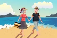 Pares sênior que andam na praia ilustração do vetor