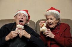 Pares sênior que comemoram o Natal fotos de stock royalty free