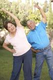 Pares sênior que exercitam no jardim foto de stock royalty free