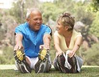 Pares sênior que exercitam no parque Fotografia de Stock