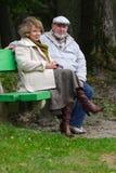 Pares sênior que sentam-se em um banco foto de stock royalty free