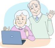 Pares sênior usando o computador em casa ilustração do vetor