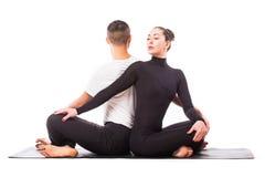 Pares sanos jovenes en la posición de la yoga respecto al fondo blanco Foto de archivo libre de regalías