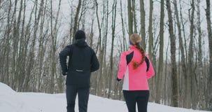 Pares saudáveis novos bonitos positivos que correm com o sportswear através da floresta na manhã ensolarada do inverno A vista de video estoque