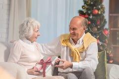 Pares sênior que trocam presentes do Natal Imagens de Stock