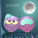 Pares soñolientos de los búhos en una rama con un fondo de la noche de la Luna Llena ilustración del vector