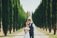 Pares sonrientes elegantes felices que caminan y que se besan en Toscana, AIE fotografía de archivo libre de regalías