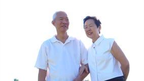 Pares superiores asiáticos frescos video que apreciam a luz do sol no campo do prado da natureza nas camisas brancas video estoque