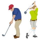 Pares superiores ativos, jogando o golfe ilustração stock