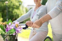 Pares superiores com as bicicletas no parque do verão imagens de stock royalty free