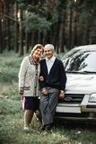 Pares superiores felizes com carro novo fotos de stock royalty free