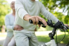 Pares superiores felizes que montam uma bicicleta no parque foto de stock
