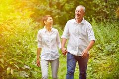 Pares superiores felizes que tomam a caminhada no verão Imagens de Stock