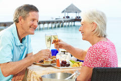 Pares superiores que apreciam a refeição no restaurante da frente marítima Imagem de Stock Royalty Free