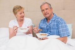 Pares superiores que comem o café da manhã na cama Imagem de Stock